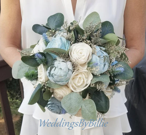 Dusty Blue Blush Sola Wood Bouquet