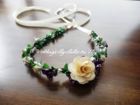 Plum Purple Ivory Floral Crown