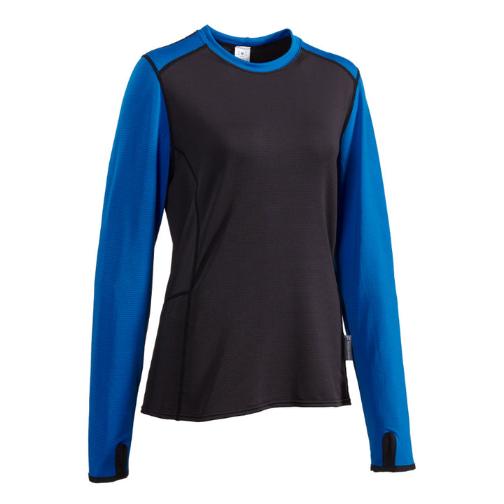 Women's long sleeve microgrid fleece base layer for outdoor sports