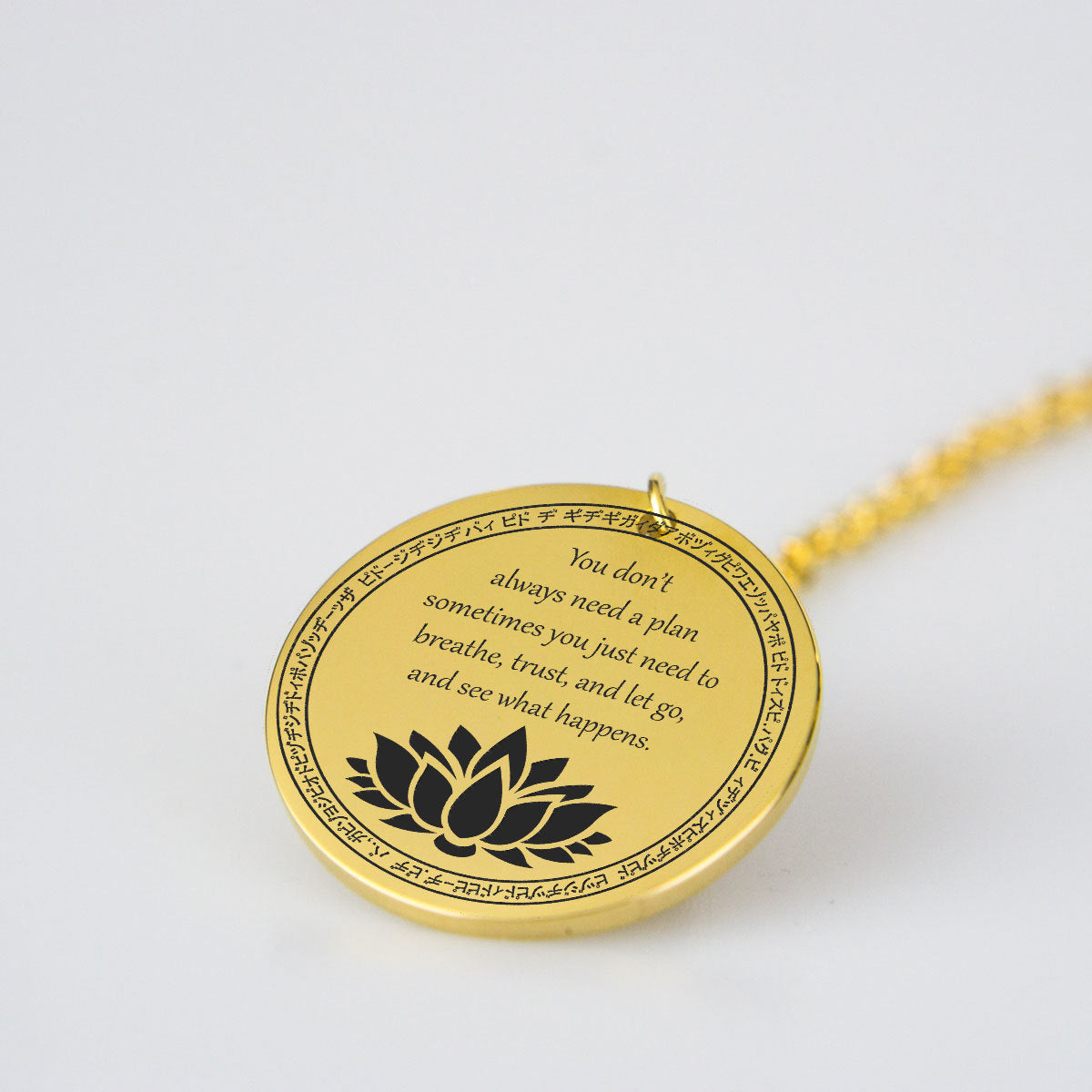 Just Breath to Release the Emotions Gold Pendant