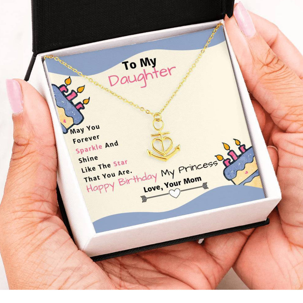 Amazing Anchor Heart Pendant Necklace Birthday Gift From Mom to Daughter!