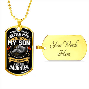 Father's Day Gift 2020, My Son My Daughter Luxury Customized Tag Personalized Gift For Dad