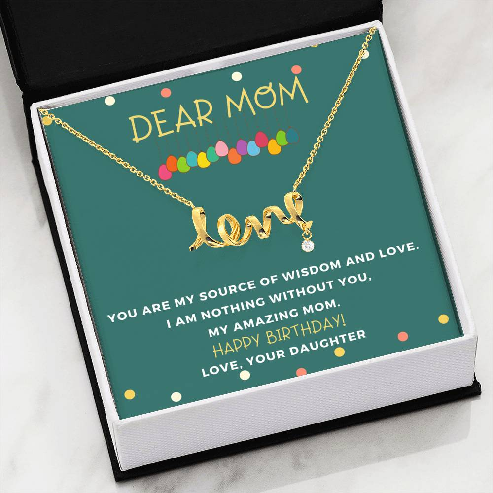 Amazing Scripted Love Pendant Necklace Birthday Gift From Daughter to Mom!