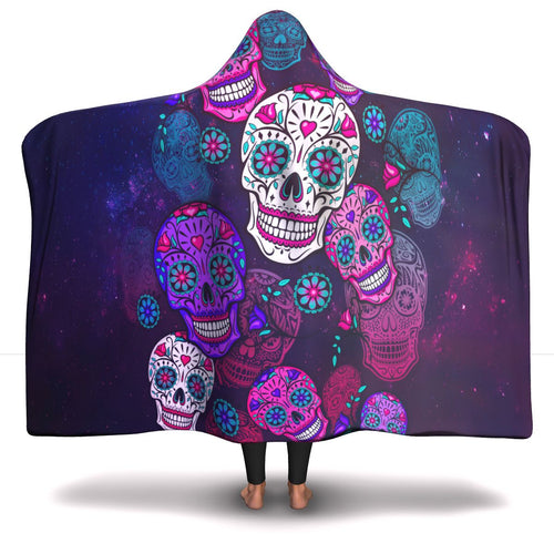 Colorful Sugar Skulls Hooded Blanket