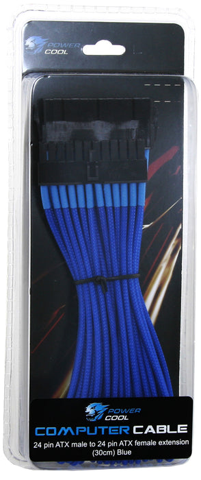 Powercool 30cm 24 Pin ATX Male to 24 Pin ATX Female Braided Extension Cable In Blue - GAM-ATXEX/BLU