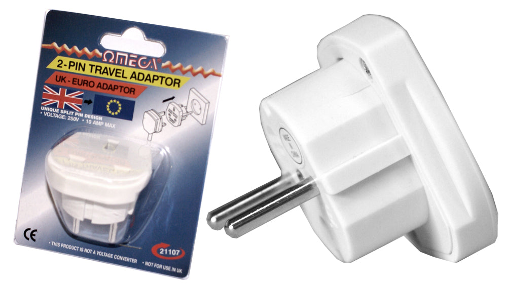 2-Pin UK - Euro Travel Adapter - 3PIN-EURO