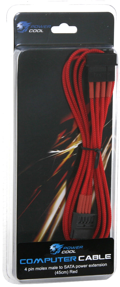 Powercool 45cm 4 Pin Molex to Sata Power Braided Extension Cable In Red - GAM-MLX/SATA/RED