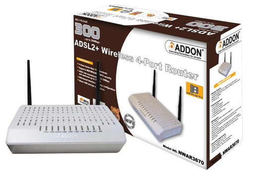 Addon NWAR3670 11N 300Mbps ADSL2+ Wireless 4-Port Router - ADD-WL-ADSL/300