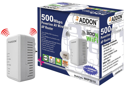 Addon Technology 500Mbps Powerline AV w/ 300Mbps Wireless Range Extender - ADD-WL-HOME/S/500