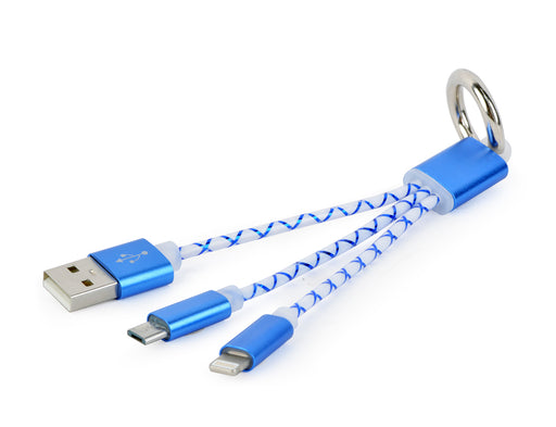 Cablexpert USB Combo Charging Cable Keyring - Blue - CB-CE21/BLUE