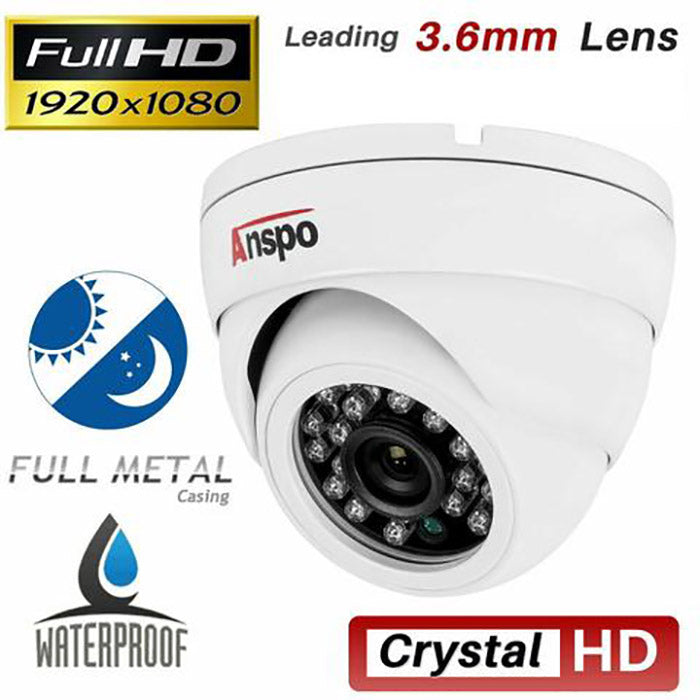 ANSPO 2MP Full HD 1080P Dome CCTV Camera With 10M Video Power Cable - CCTV-CAMKIT1
