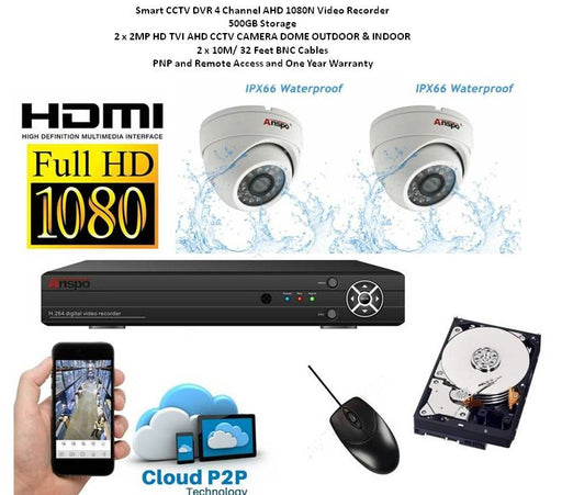 Full HD CCTV Kit - 2 x HD Cameras & 4 Channel 500GB Video Recorder With Cabling - CCTV-4CH/500
