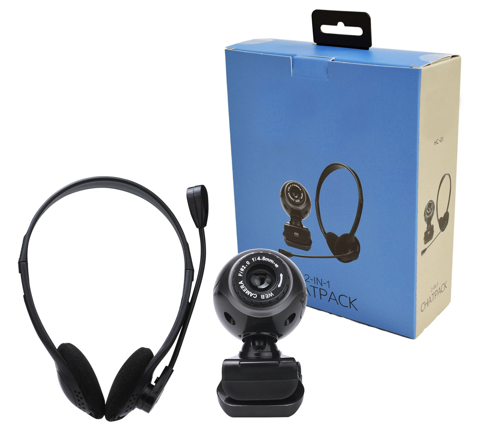 Webcam And Headset With Adjustable Microphone Bundle - CHAT-COMBO