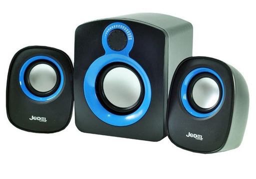 Jedel SD003 Compact 2.1 USB Powered Desktop Speakers - Black & Blue - CM-JED-SD03