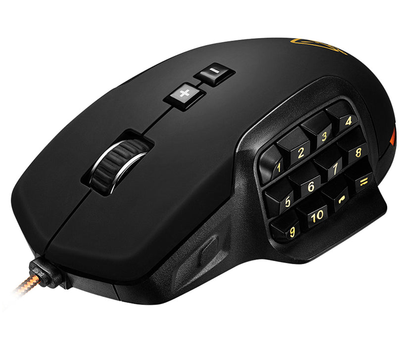 Canyon Wired 17 Button USB LED MMO Gaming Mouse With Adjustable DPI - Black / Orange - CND-SGM9
