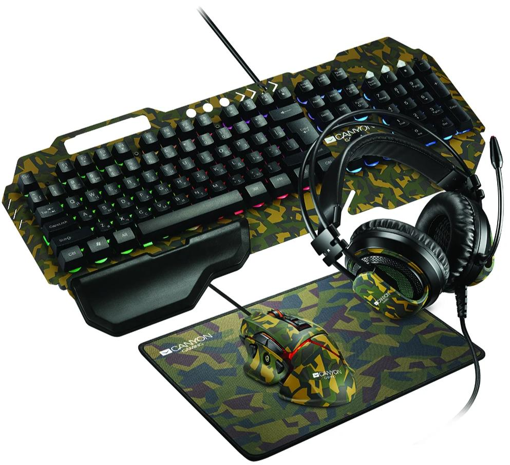 Canyon Argama Headset/Keyboard/Mouse/Mouse Mat Camo Gaming Set - CND-SGS03
