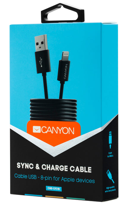 Canyon Simple Sync & Charge 8-pin Lightning Cable - Black - CNE-CFI1B