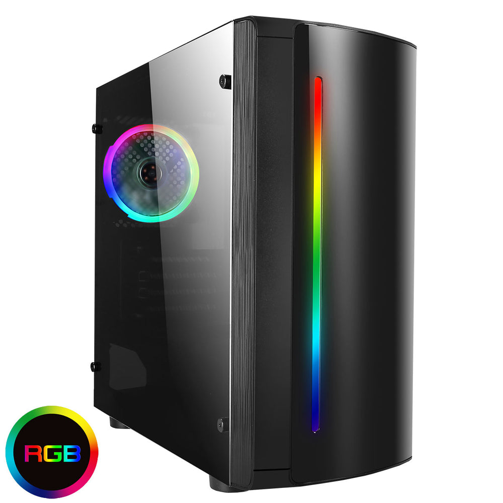CiT Beam MATX RGB Rainbow Strip Gaming Case With Acrylic Side Panel - CSE-BEAM