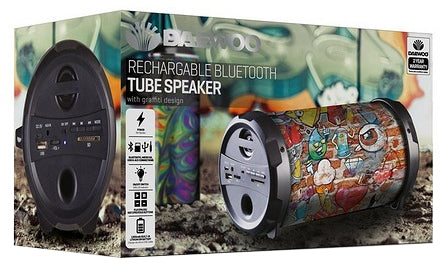 Daewoo Rechargeable Bluetooth Tube Speaker With Graffiti Design - DAE-1351