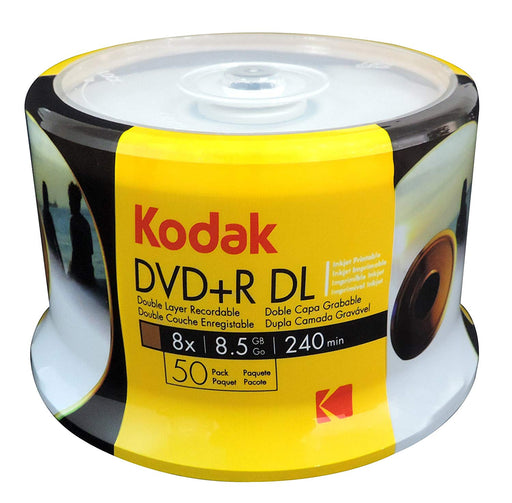 KODAK DVD+R DL 8x 8.5GB 240 Min 50 Pack Printable - DVD-KD-DL50