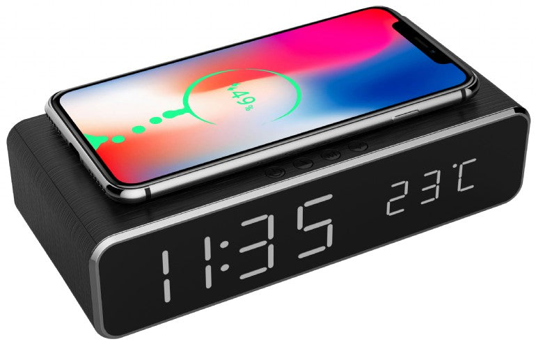 Gembird Digital Alarm Clock With Wireless Charging Function - Black - ACLOCK/BLACK