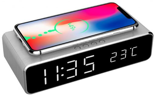 Gembird Digital Alarm Clock With Wireless Charging Function - Silver