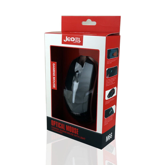 Jedel M66 7 Coloured Breathing LED USB Wired Gaming Mouse - MSE-JED-M66