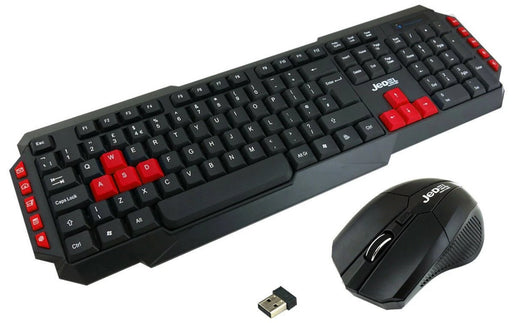 Jedel WS880 Wireless Gaming Keyboard and 3 Button Mouse Set - Black/Red - KB-JED-WL880/RED