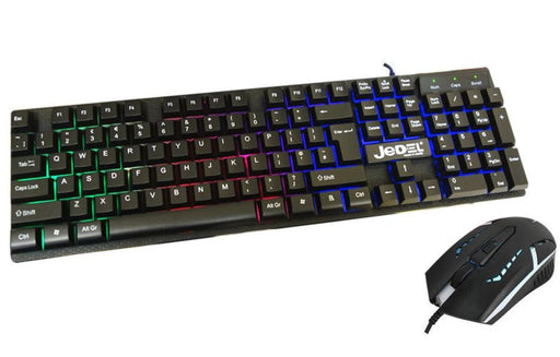 Jedel GK100 RGB LED Gaming Keyboard And 4D Mouse Set - Black - KB-JED-GK100/BLK