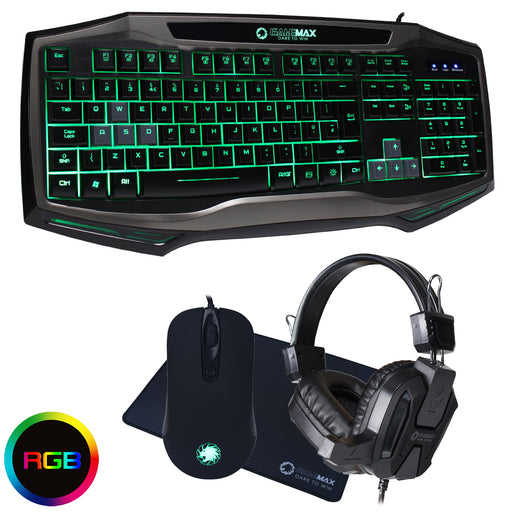 Game Max Raptor RGB Keyboard, Mouse, Headset & Mouse Mat - KB-GAM-RAP/COMBO