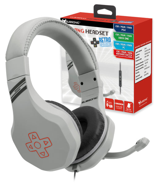 Subsonic Retro Game & Chat Headset For Playstation 4 PS4 / Xbox One, PC & Switch - With Microphone - Grey - SUB-5533