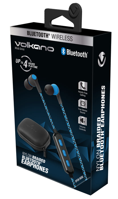 Volkano Moda Series Nylon Braided Bluetooth Earphones - Black/Blue - VOLK-VK-1107/BLU