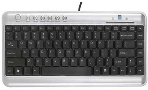 A4Tech Black and Silver Slimline Mini Keyboard - USB - A4-KL5/SIL