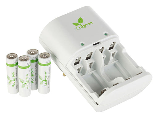 iGo Green Energy Battery Main Charger With 4  x  AA Batteries - BATT-CHRG-IGO