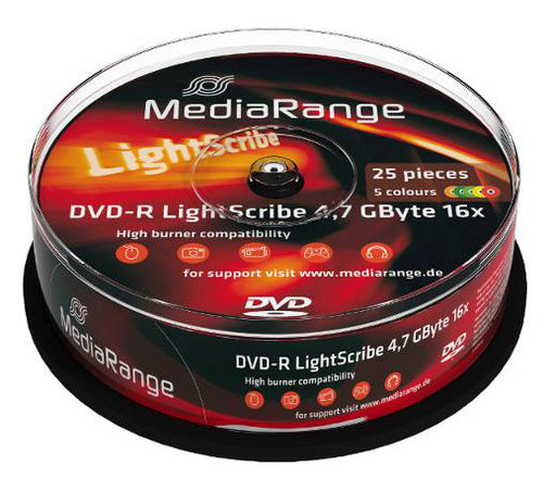 MediaRange DVD-R LightScribe 4.7GB Discs - 25 Pack - DVD-MR-LS25