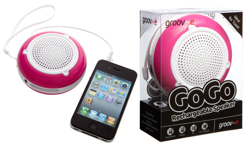 Groov-e 3.5mm GoGo Rechargeable Speakers - Pink - GV-SP200/PINK