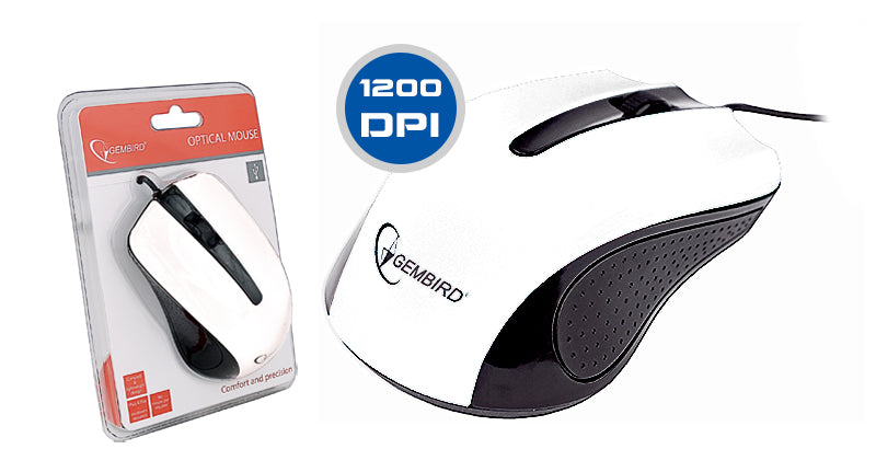 Gembird MUS-101 Compact & Lightweight 1200DPI High Precision Mouse In White - MSE-OP101/WHITE