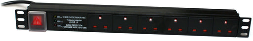 "Dynamode 6 Way Horizontal 13A Switched PDU With Surge Protection For 19"" Cabinet - NET-DY-PDU/6"