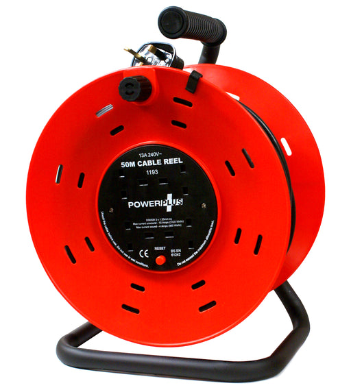 4 Way Extension Reel 13A With Thermal Cut-out Switch - 50 Metre - PP-REEL-50M