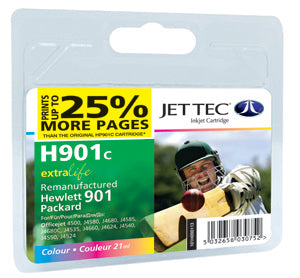 JETTEC HP 901 Colour Remanufactured Ink Cartridge - RE-HP-901C