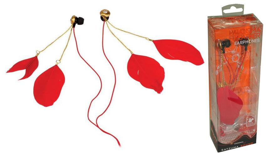 Satzuma Feather Earphones - Red Style - SAT-EAR/RED