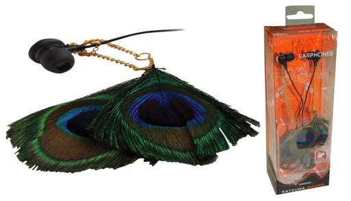 Satzuma Feather Earphones - Peacock Style - SAT-EAR/PEA