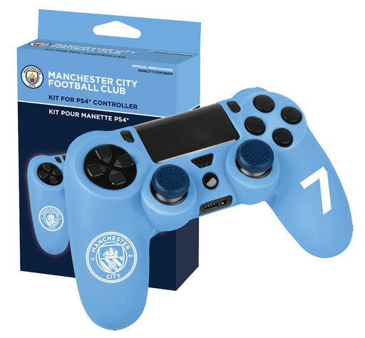 Subsonic Official Manchester City Silicone Case For Playstation 4 PS4 Controller - With 2 Thumb Grips - SUB-5323/MCFC