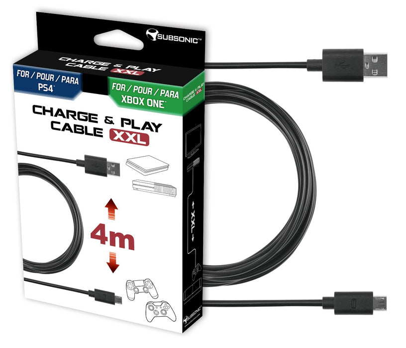 Subsonic USB Charge & Play Cable For Playstation 4 PS4 and Xbox One  Controller - 4M - SUB-5355