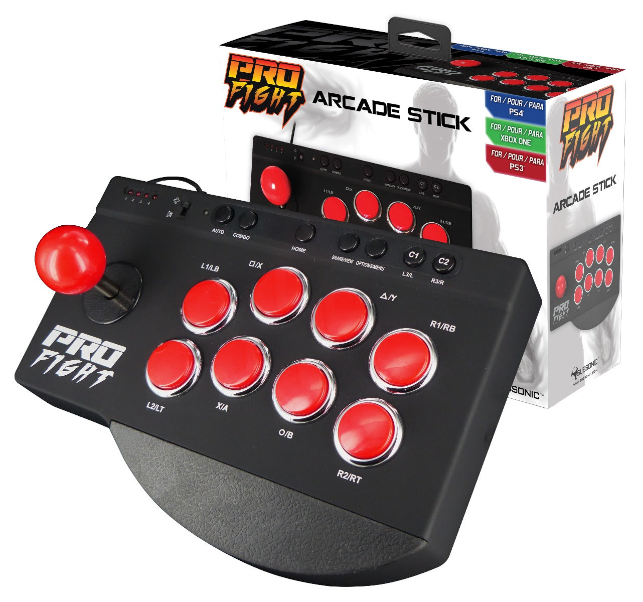 Subsonic Pro Fight Arcade Stick For Playstation 3 / 4 PS3 / PS4 & Xbox One - SUB-5416
