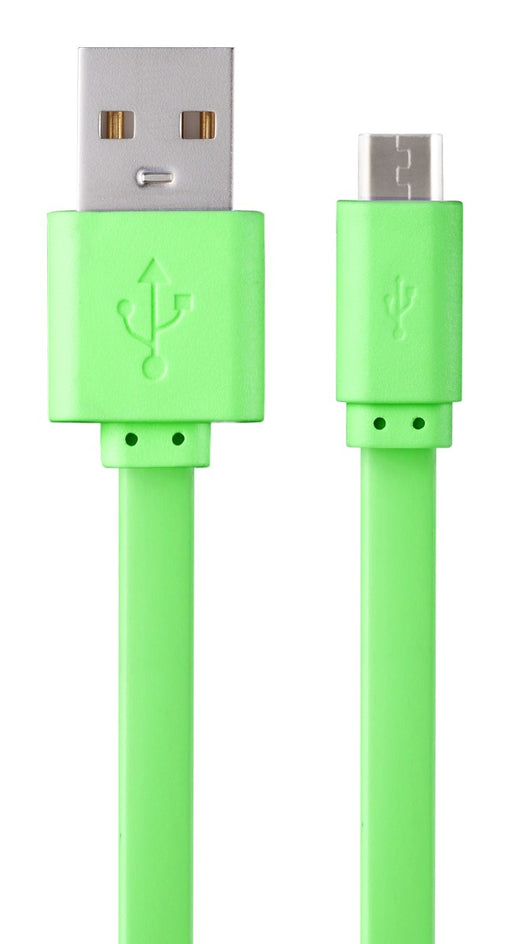 Volkano Slim Series Flat USB To Micro USB Charge & Data Cable - 1M - Lime Green - VOLK-CAB343/GRN