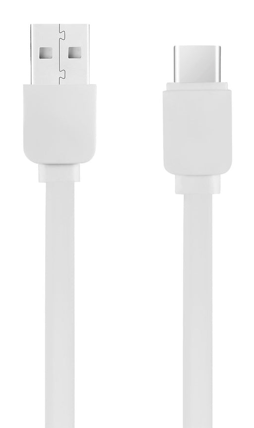 Volkano Slim Series Flat USB To Type C Charge & Data Cable - 1M - White - VOLK-CAB349/WT
