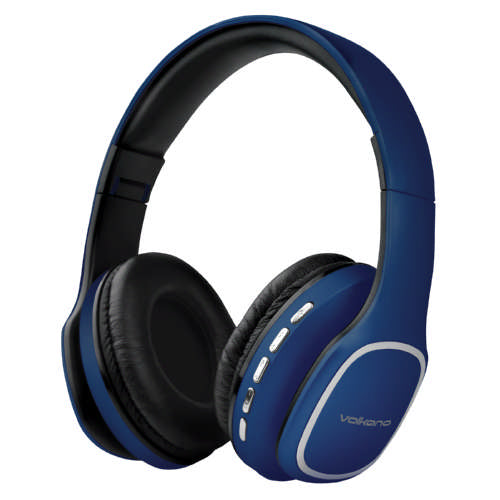 Volkano Phonic Series Folding Bluetooth Headphones With Built In Microphone - Blue - VOLK-VK2002/BLU