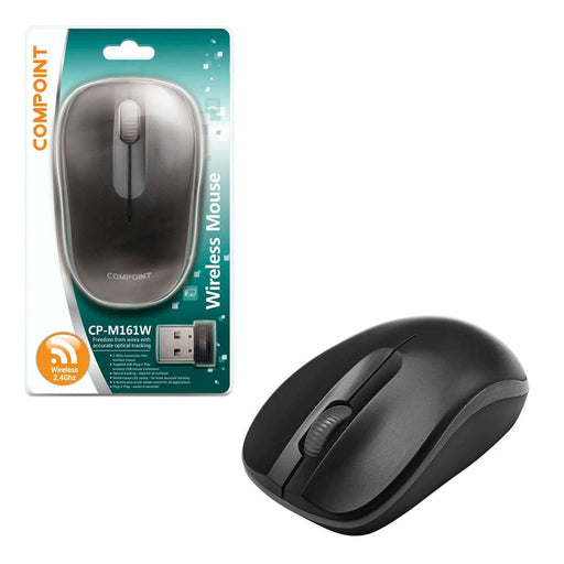 Compoint 3 Button Wireless 2.4Ghz Optical Mouse with Nano Adapter - Black/Black - MSE-WL-161/BLK-BLK