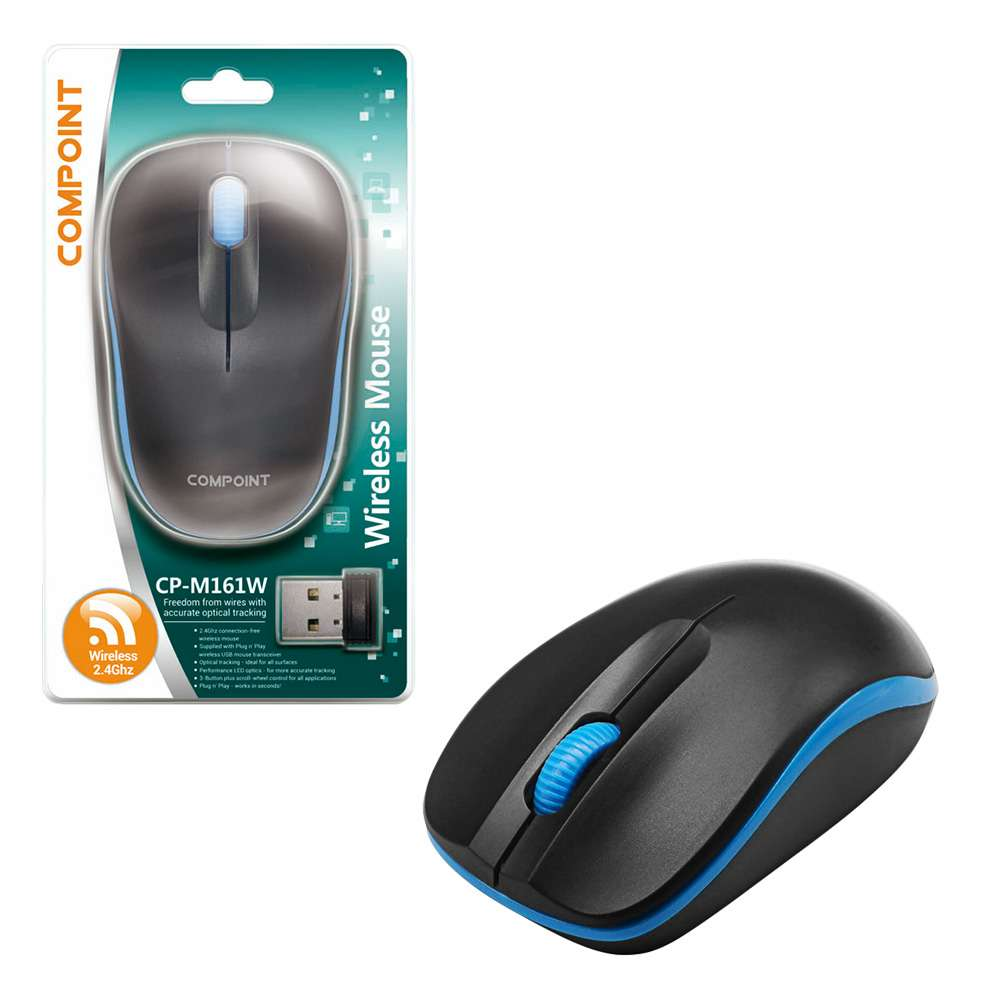 Compoint 3 Button Wireless 2.4Ghz Optical Mouse with Nano Adapter - Black/Blue - MSE-WL-161/BLK-BLU